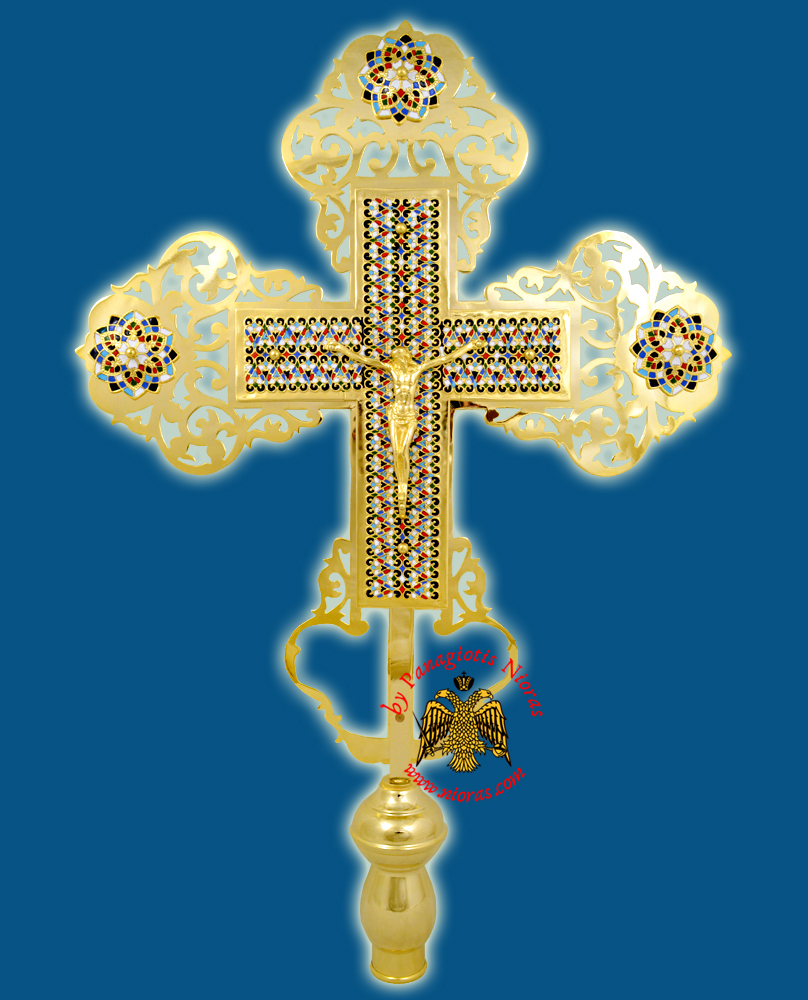 Ethiopian Coptic Orthodox Cross with Enamel Motives