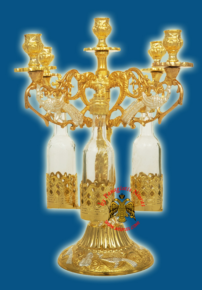 Orthodox Consecration Five Candles Stand Gold Silver Plated with 3 Glass Bottles 30cm