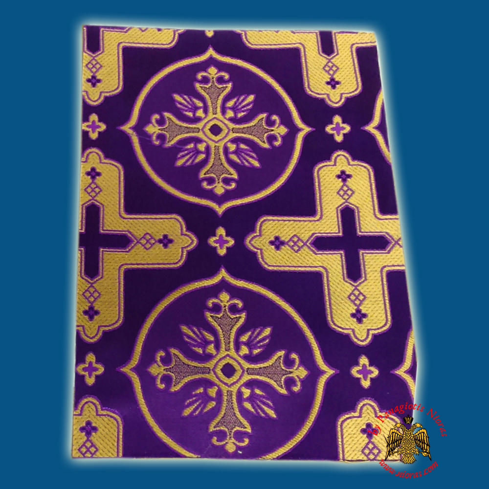 Orthodox Clerics Vestment Purple Fabric With Golden Cross Details A' No.6601