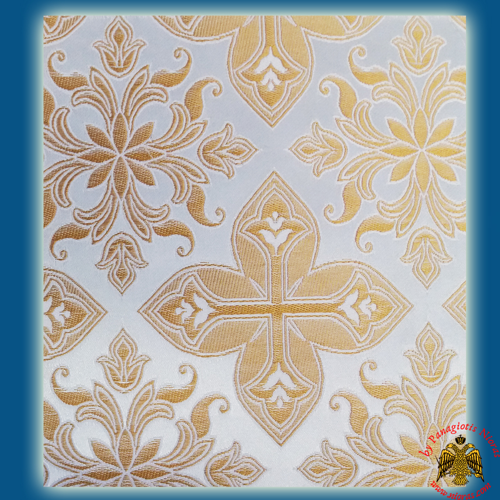 Orthodox Clerics Vestment Fabric With Flowered Shaped Cross White With Gold Details No.6618