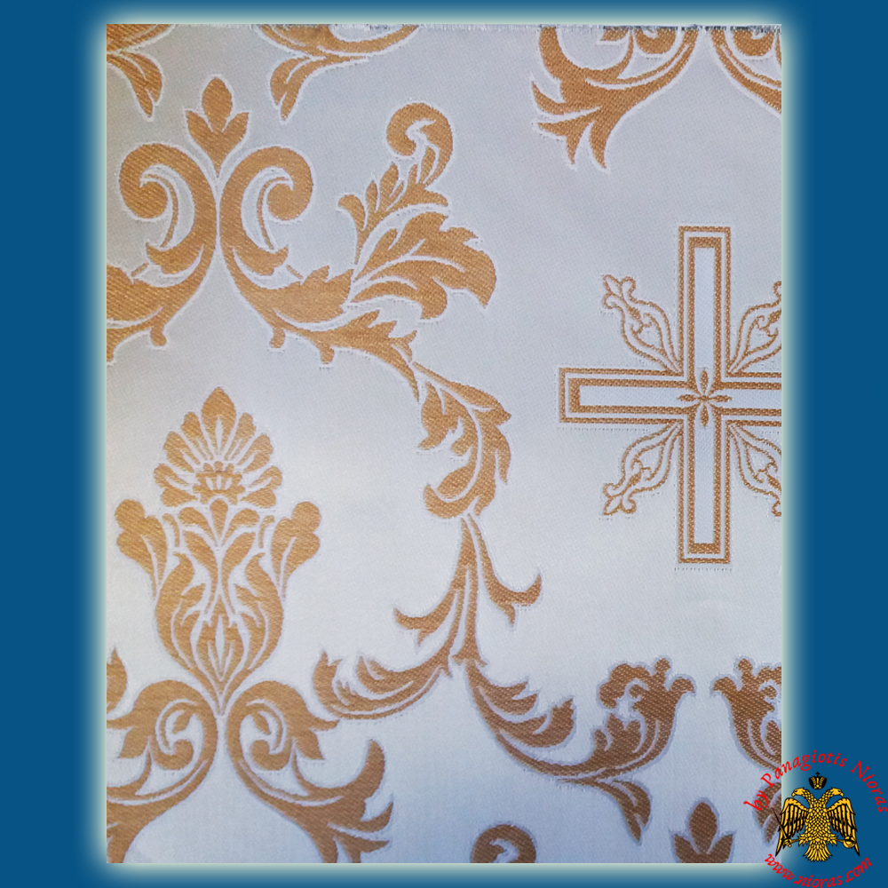 Orthodox Clerics Vestment Fabric With Flowered Shaped Cross White With Gold Details No.6639