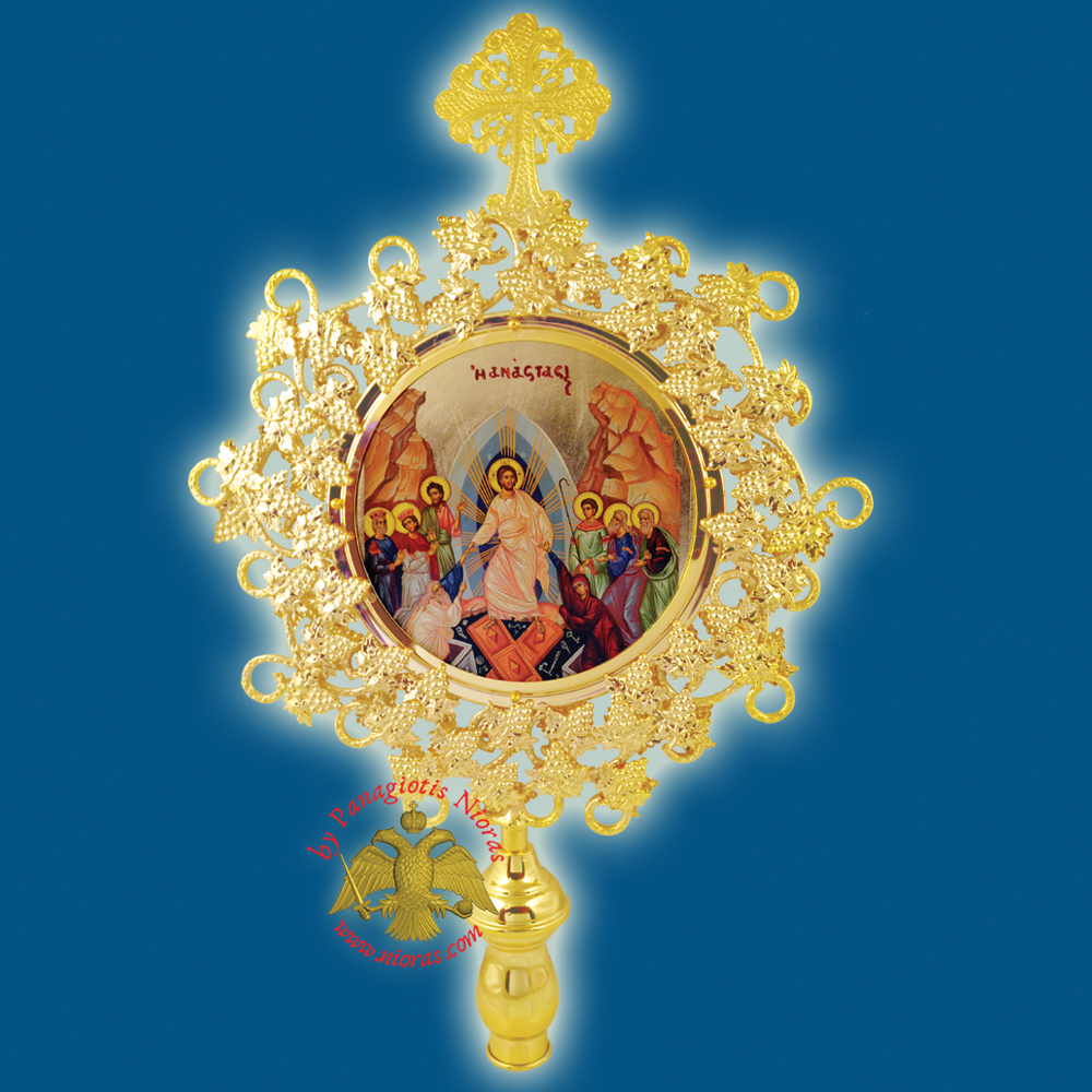 Orthodox Wooden Resurrection Metallic Fan Banner Round Gold Plated