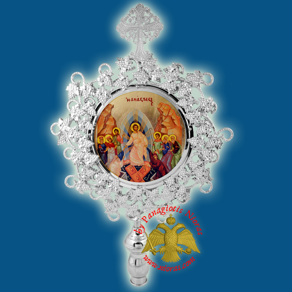 Orthodox Wooden Resurrection Metallic Fan Banner Round Silver Plated