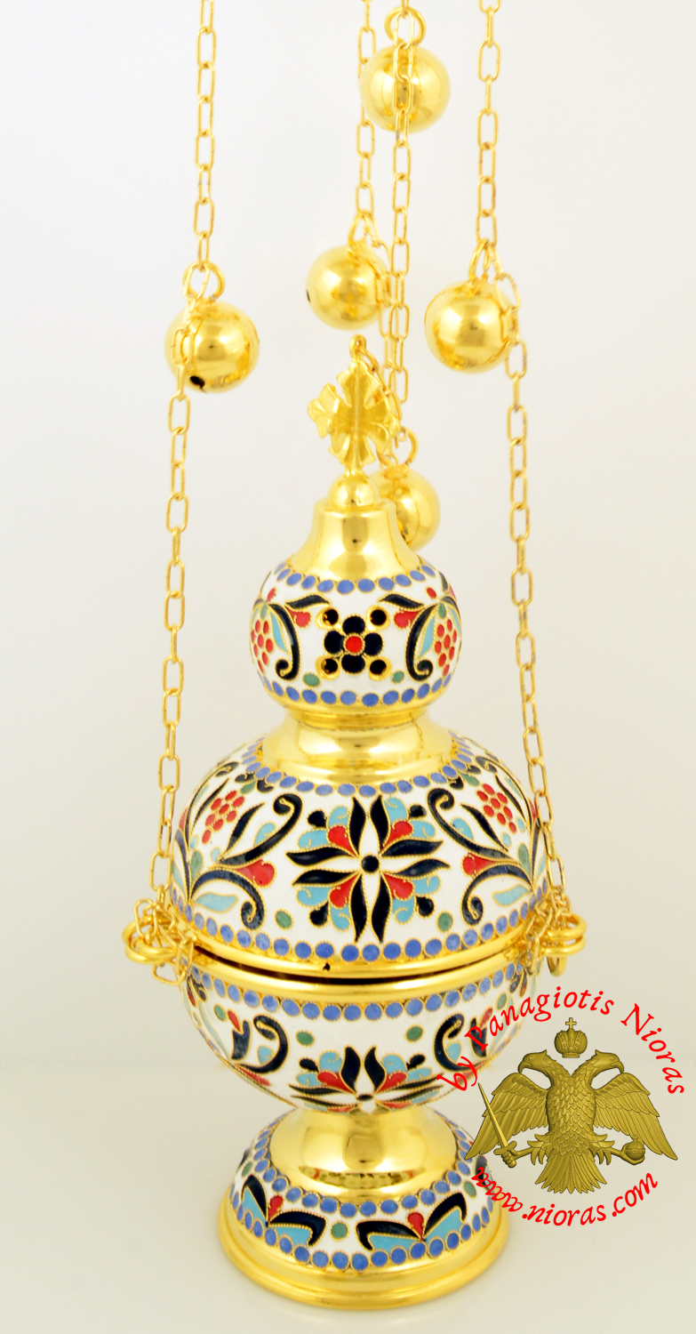 Russian Orthodox Church Censer Enameled Gold Plated