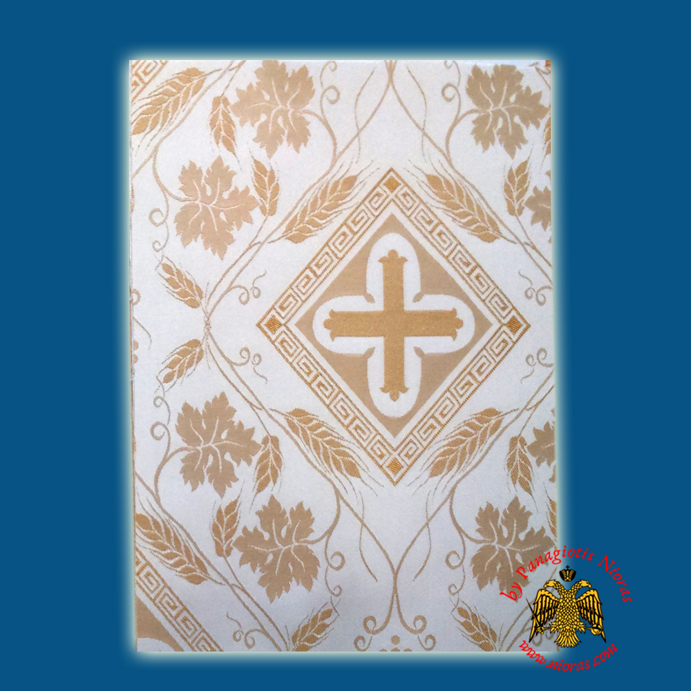 Orthodox Clerics Vestment White Fabric With Golden Cross Details No.104
