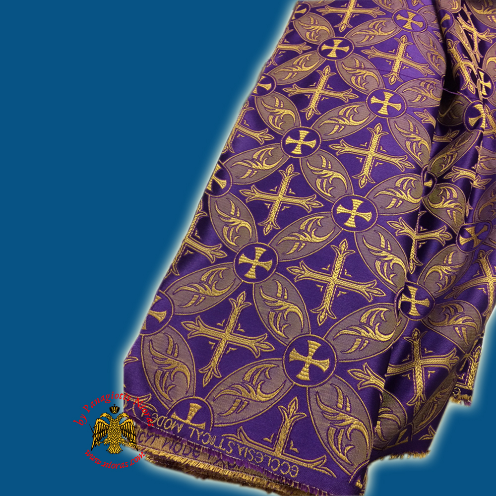 Orthodox Clerics Vestment Purple Fabric With Golden Cross Details B' No.6616