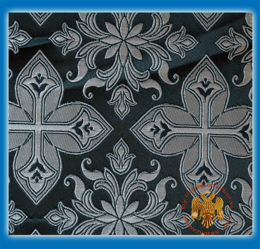 Orthodox Clerics Vestment Fabric With Flowered Shaped Cross Black With Silver Details No.6618