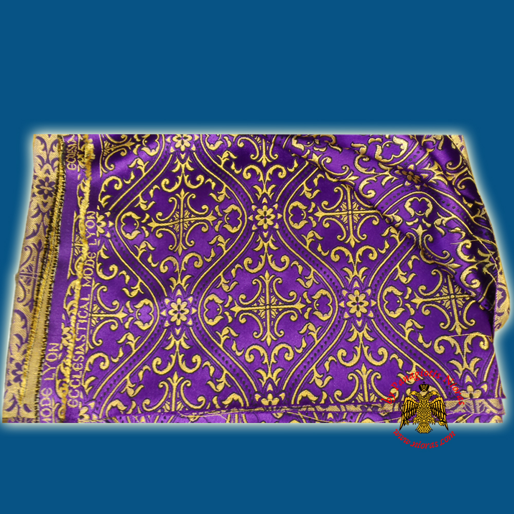 Orthodox Clerics Vestment Purple Fabric With Golden Cross Details C' No.6625