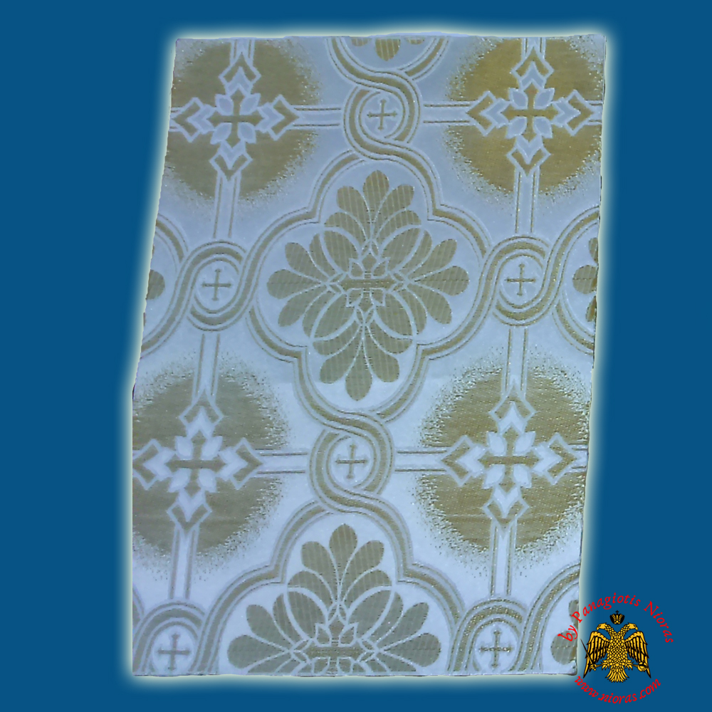 Orthodox Clerics Vestment Fabric With Flowered Shaped Cross White With Gold Details No.6626