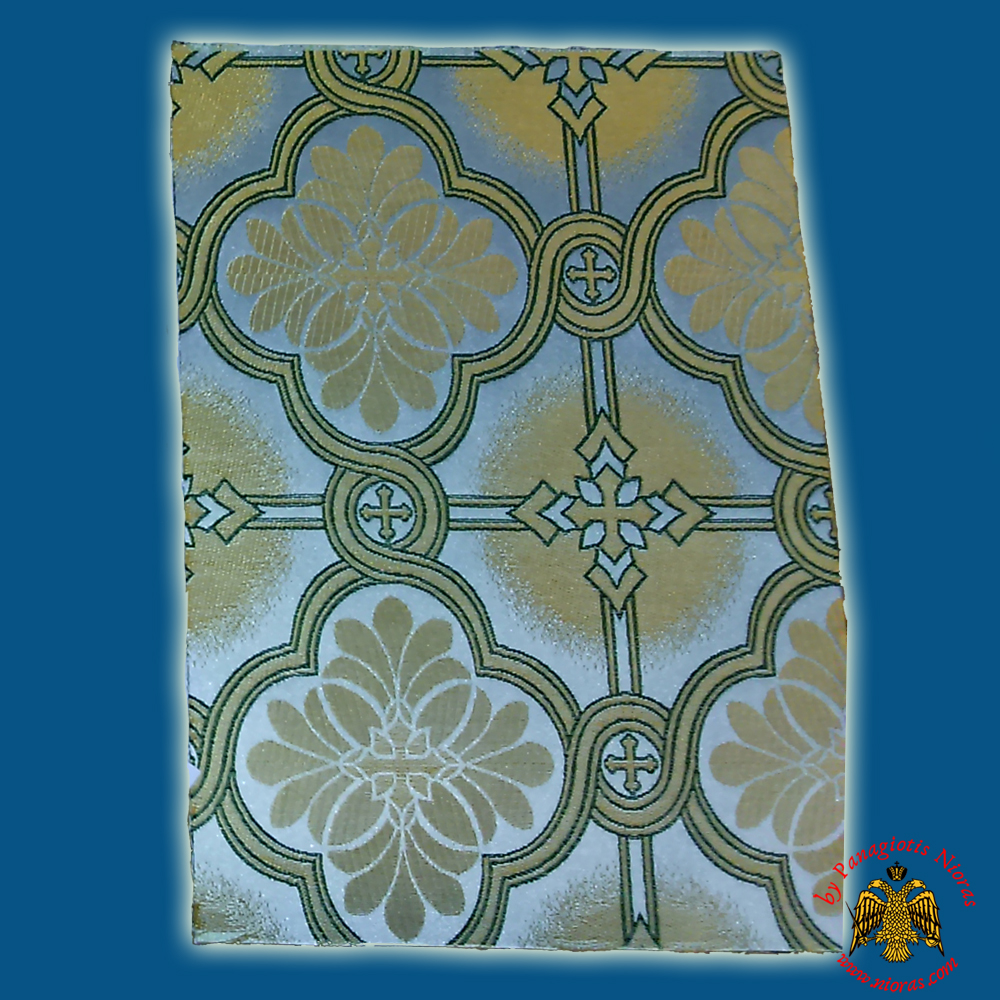 Orthodox Clerics Vestment Fabric With Flowered Shaped Cross White with Green Details No.6626