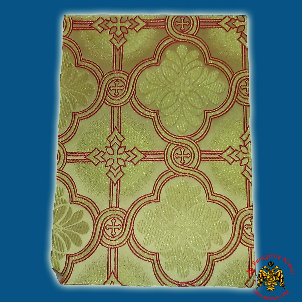 Orthodox Clerics Vestment Fabric With Flowered Shaped Cross Gold With Red Details No.6626