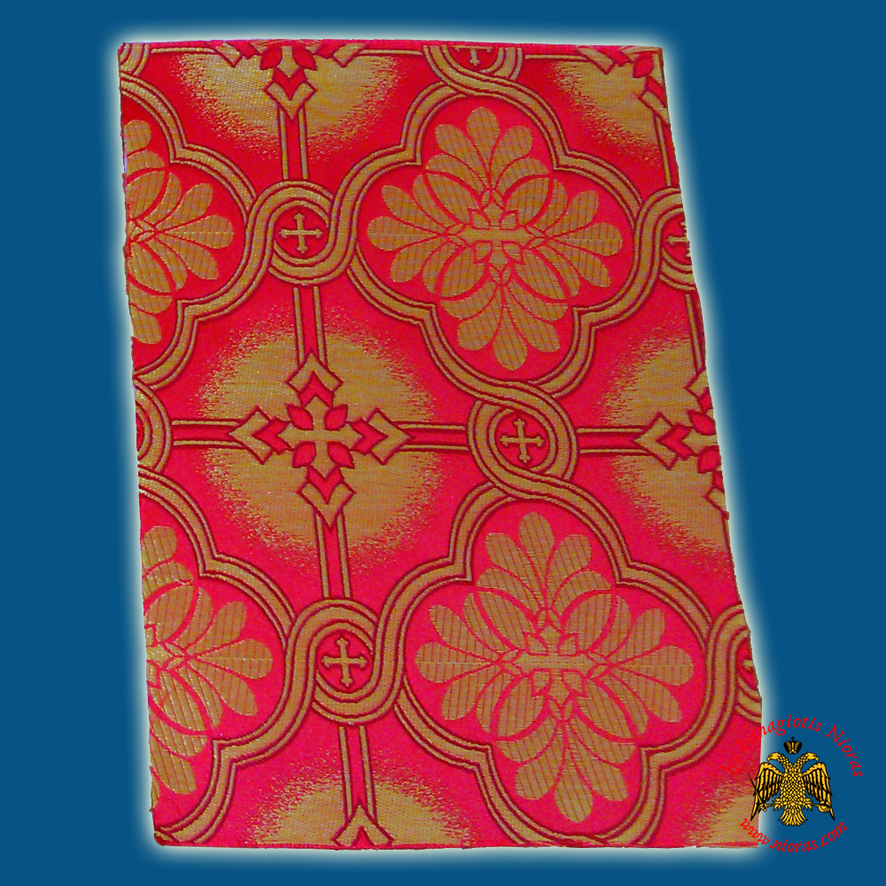 Orthodox Clerics Vestment Fabric With Flowered Shaped Cross Red with Golden Details No.6626