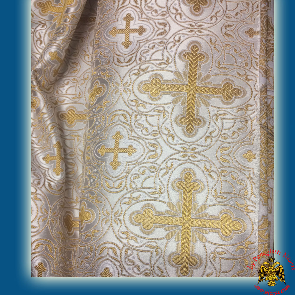 Orthodox Vestment Cloth Liturgical White Fabric With Golden Cross Details 6633