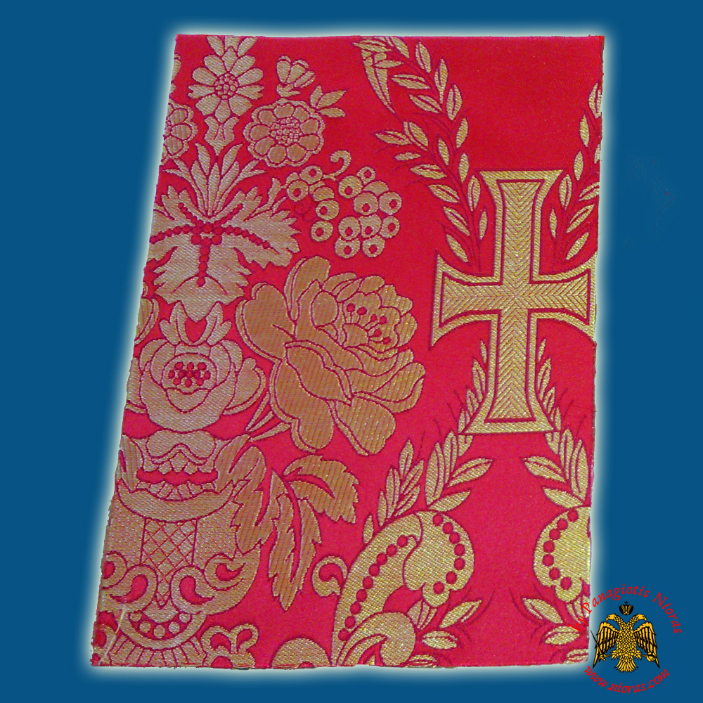 Orthodox Clerics Vestment Red Fabric With Flowers & Crosses No.6645