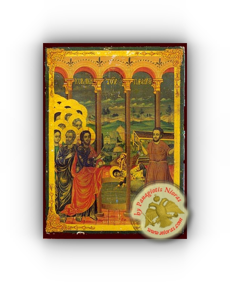 Sunday of the Paralytic - Neoclassical Wooden Holy Icon