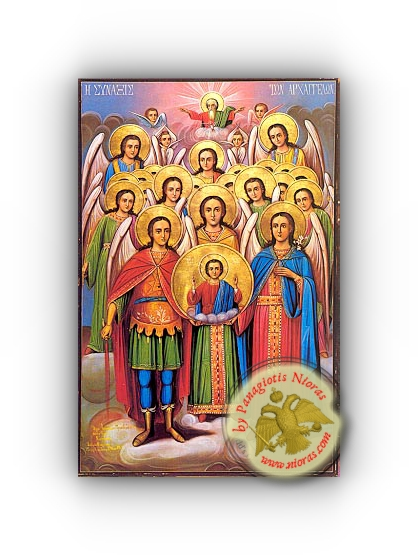 Synaxis of the Holy Archangels - Neoclassical Wooden Holy Icon