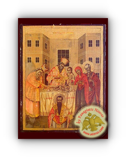 Circumcision of Christ, and Saint Basil the Great - Neoclassical Wooden Holy Icon