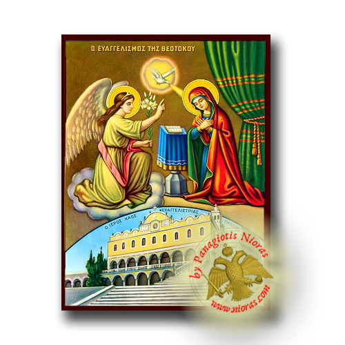 The Annunciation with the temple of Tinos - Neoclassical Wooden Icon