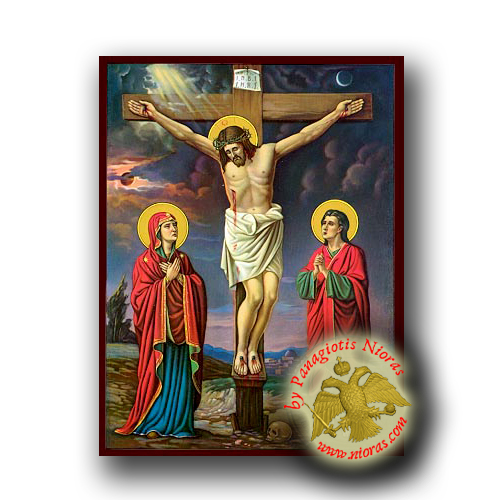 The Crucifixion Golgotha - Neoclassical Wooden Icon