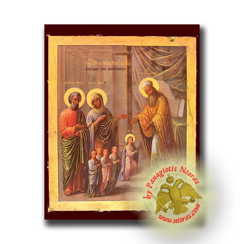 Entry of Theotokos Panagia Into the Temple - Neoclassical Wooden Icon