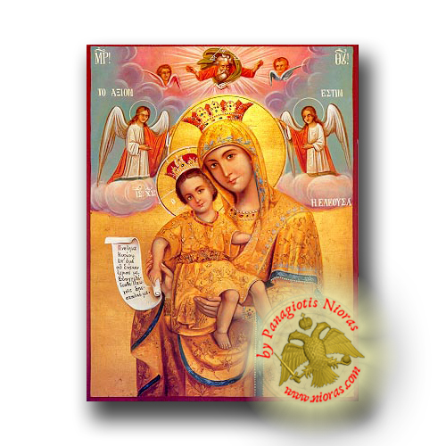 Theotokos Merciful, Axion Esti (It Is Truly Meet) - Neoclassical Wooden Icon