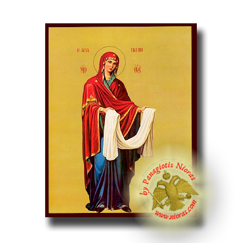 Theotokos Skepe (Protection), Full Body - Neoclassical Wooden Icon