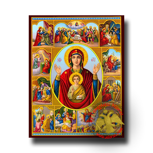 Theotokos Life Images - Neoclassical Wooden Icon
