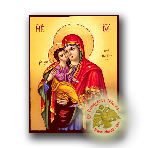 Theotokos Sweet Kissing, of the Akathist (Laudation of Theotokos) - Neoclassical Wooden Icon