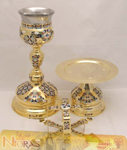 Chalice Set Byzantine Style with Enamel Motives B Gold Plated