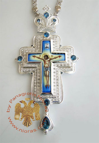 Pectoral Cross Design 171b Silver Plated Brass Zirgon Stone