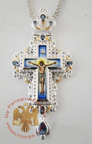 Pectoral Cross Design 185a Silver Plated Brass Zirgon Stone