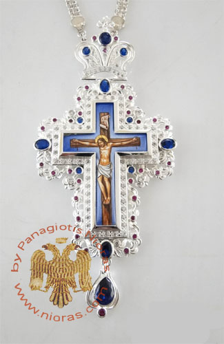 Pectoral Cross Design 185c Silver Plated Brass Zirgon Stone