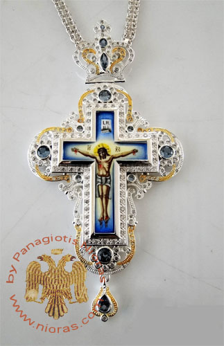 Pectoral Cross Design 193b Silver Plated Brass Zirgon Stone