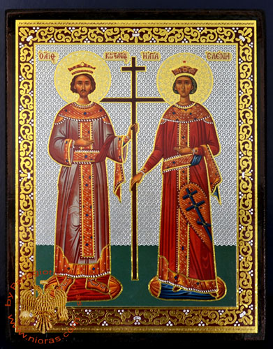 Russian Orthodox Style Silver Printed Wooden Icons of Agios Konstantinos and Agia Eleni