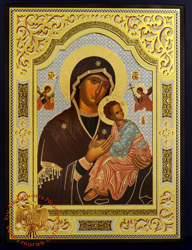 Russian Orthodox Style Silver Printed Wooden Icons of Panagia Aggelon