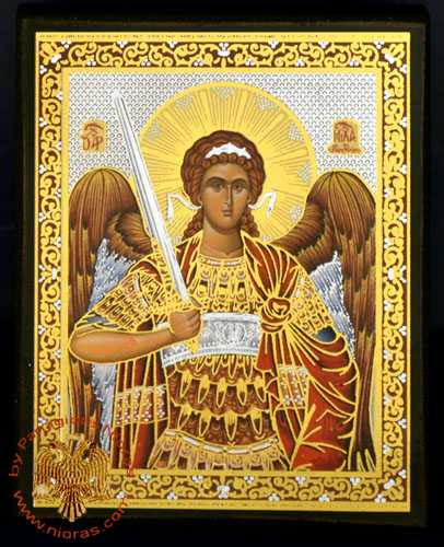 Russian Orthodox Style Silver Printed Wooden Icons of Michael Archangel