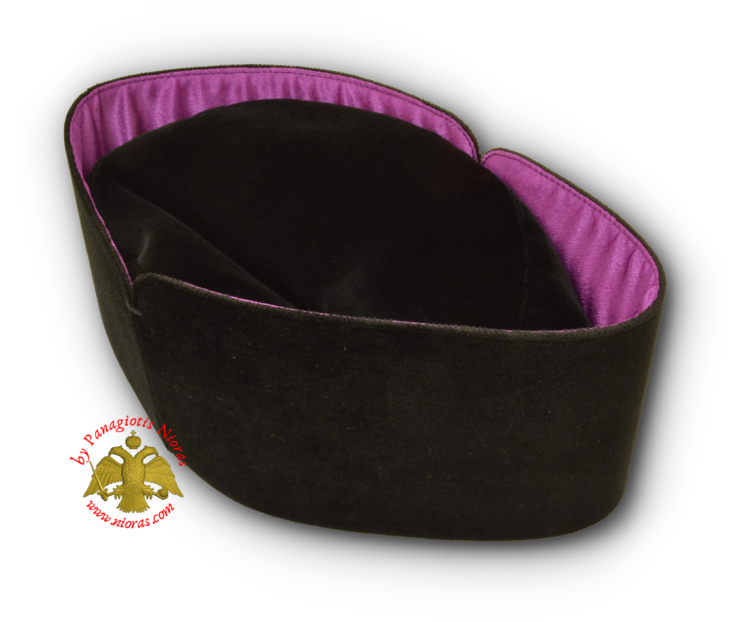 Orthodox Clerical Hat - Kalpaki Soft - Velvet With Purple Linner