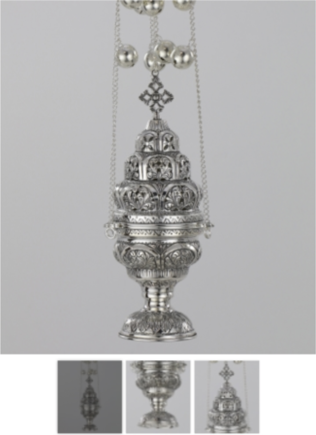 Church Orthodox Style Censer Silver 925 Hand Made