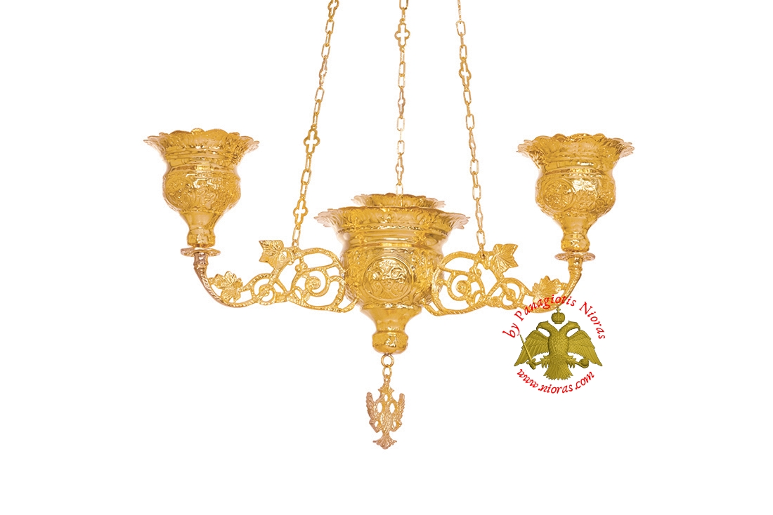 Orthodox Ecclesiastical 3-Branch Hanging Oil Candle Gold Plated