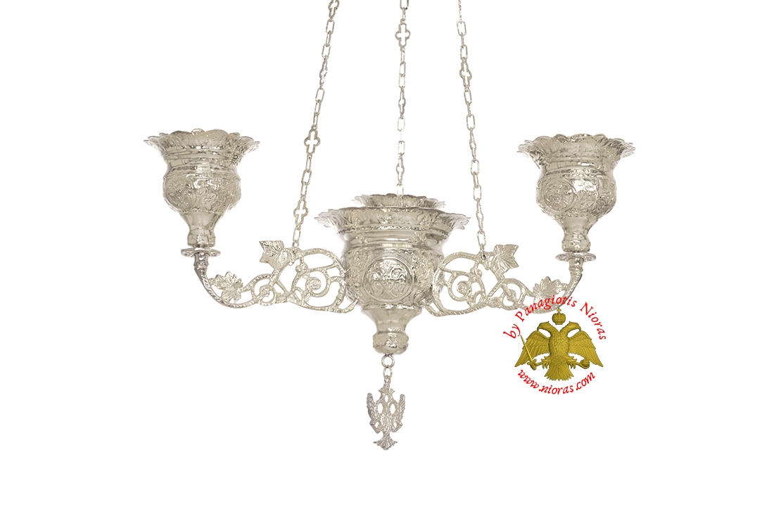 Orthodox Ecclesiastical 3-Branch Hanging Oil Candle Silver Plated