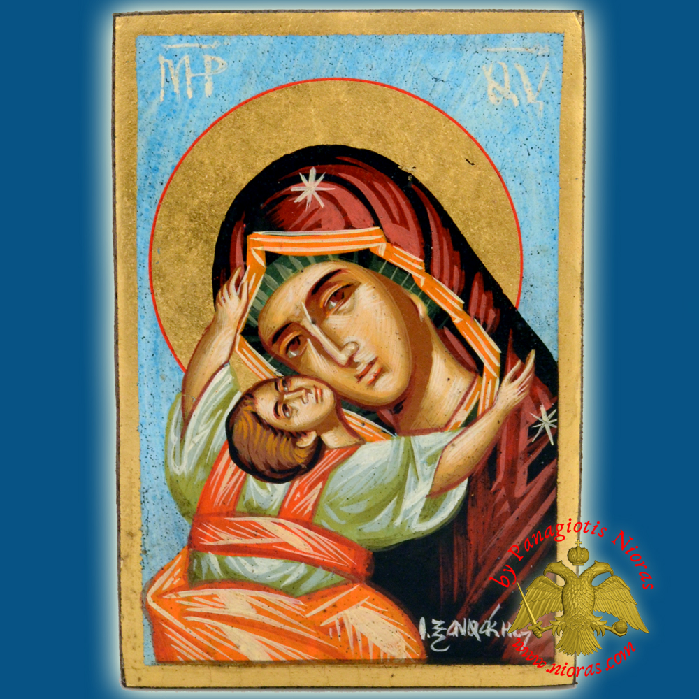 Orthodox Hand Painted Holy Icon Theotokos Sweet Kissing 14x18cm Blue BackGround on Old Natural Wood