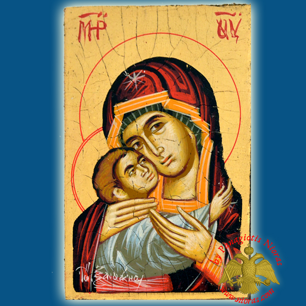 Orthodox Hand Painted Holy Icon Theotokos Sweet Kissing 14x18cm Golden BackGround on Old Natural Wood