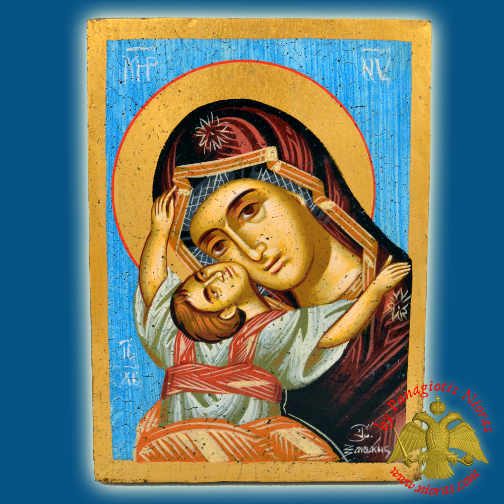 Orthodox Hand Painted Holy Icon Theotokos Sweet Kissing 18x25cm Blue BackGround on Old Natural Wood