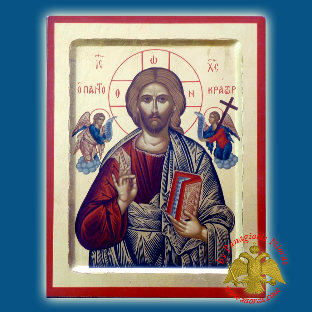 Christ The Pantokrator Grey Dress Holy Deisis Byzantine Wooden Icon on Canvas
