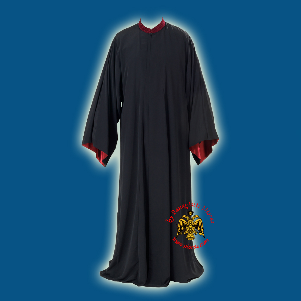 Orthodox Priest Clerical Cassock Rasso Exorasso Black with Red Linen Details