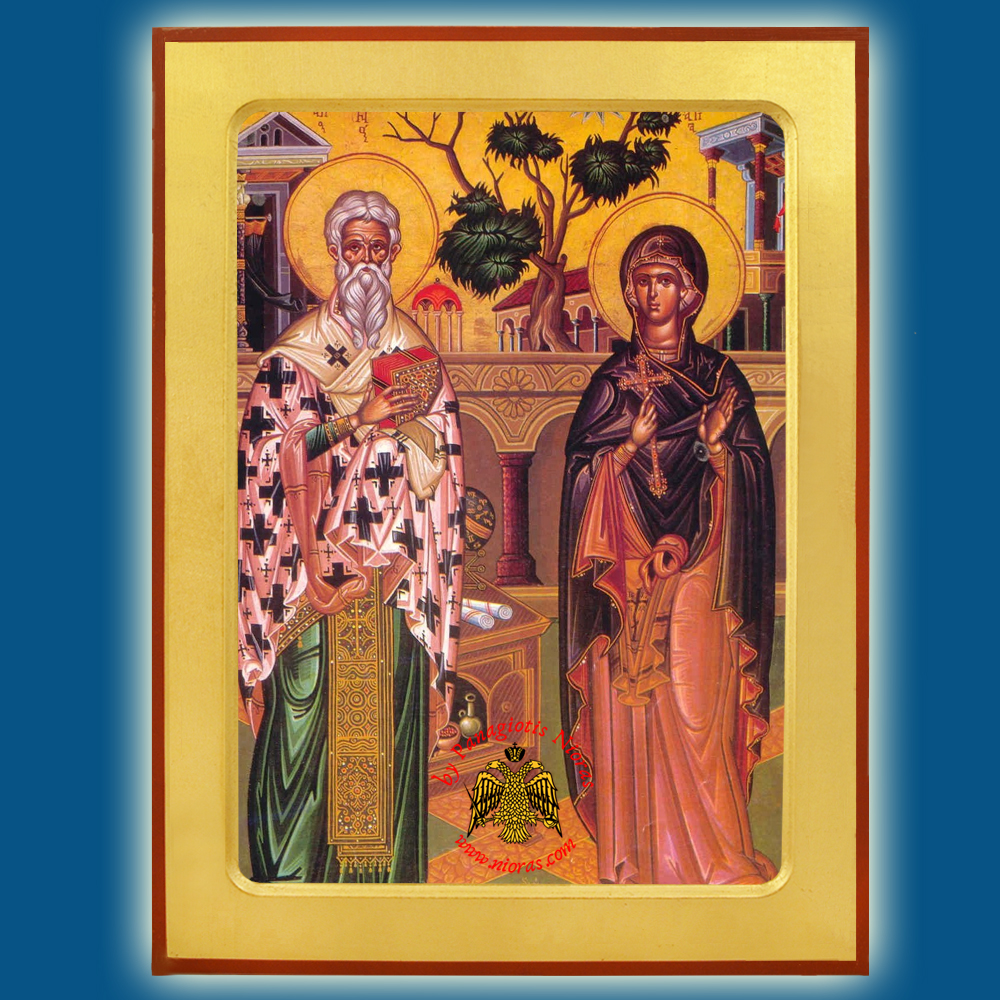 Orthodox Wooden Icon Cyprian and Justina