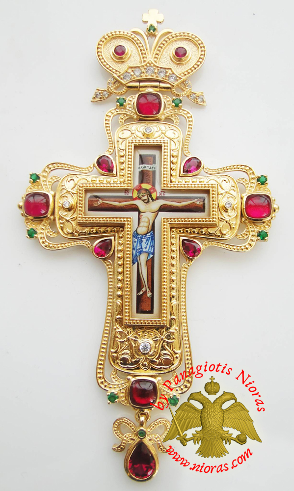 Orthodox Christ Pectoral Cross Brass Gold Plated with Semi Precious Stones 8x16cm - 326