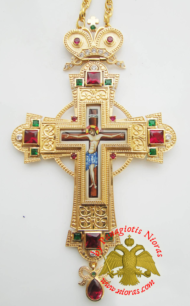Orthodox Christ Pectoral Cross Brass Gold Plated with Semi Precious Stones 8x16cm - 333