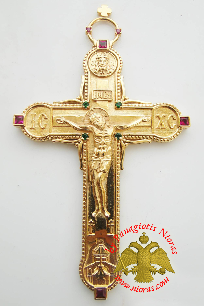 Orthodox Christ Pectoral Cross Brass Gold Plated with Semi Precious Stones 8x14cm - 334
