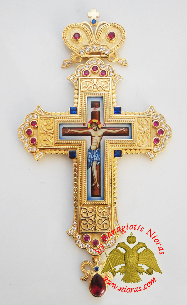 Orthodox Christ Pectoral Cross Brass Gold Plated with Semi Precious Stones 8x16cm - 355